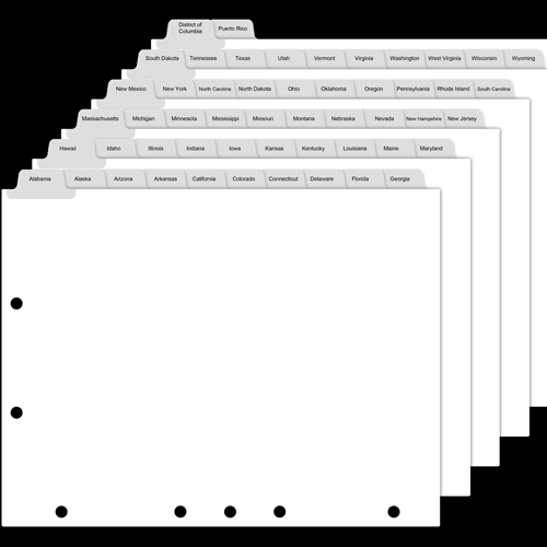 50 State Tab Dividers