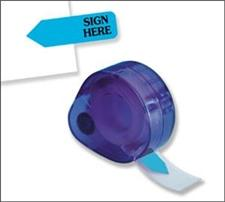 Redi-Tag Dispenser Page Flags Printed Sign Here Blue