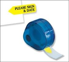 Redi-Tag Dispenser Page Flags Printed Please Sign & Date Yellow