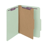 Smead 13776 Gray/Green Pressboard Classification Folder with SafeSHIELD Fasteners, 1 Divider, 2