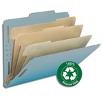 Smead 14090 Blue 100% Recycled Pressboard Classification Folder, 3 Dividers, 3
