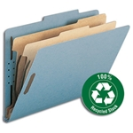Smead 19021 Blue 100% Recycled Pressboard Classification Folder, 2 Dividers, 2