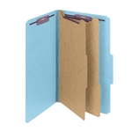 Smead 19030 Blue Pressboard Classification Folder with SafeSHIELD Fasteners, 2 Dividers, 2
