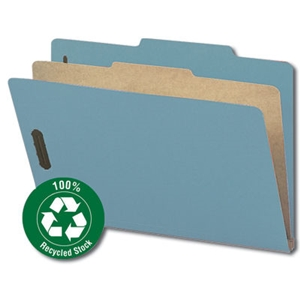 "Smead 18721 Blue 100% Recycled Pressboard Classification Folder, 1 Divider, 2"" Expansion, Legal"