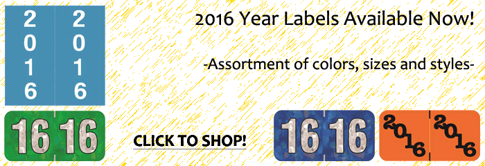 2016 Year Labels Available Now | Assortment of colors, sizes and styles | CLICK TO SHOP