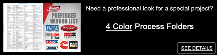 Need a professional look for a special project? 4 Color Process Folders - SEE DETAILS.