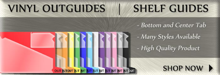VINYL OUTGUIDES | SHELF GUIDES | Bottom and Center Tab, Many Styles Available, High Quality Product | SHOP NOW