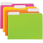 Smead 11925 Assorted Neon File Folder, 1/3-Cut Tab, Letter