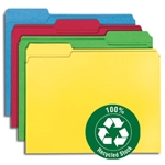 Smead 12008 Assorted 100% Recycled File Folder, Reinforced 1/3-Cut Tab, Letter