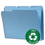Smead 12038 Blue 100% Recycled File Folder, Reinforced 1/3-Cut Tab, Letter