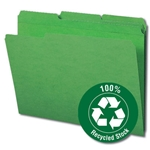 Smead 12138 Green 100% Recycled File Folder, Reinforced 1/3-Cut Tab, Letter