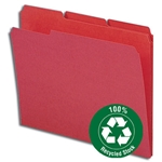 Smead 12738 Red 100% Recycled File Folder, Reinforced 1/3-Cut Tab, Letter