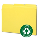 Smead 12938 Yellow 100% Recycled File Folder, Reinforced 1/3-Cut Tab, Letter