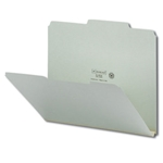Smead 13275 Gray/Green Pressboard File Folder, 2/5-Cut Tab Right of Center Position, Guide Height, 1