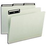 Smead 13430 Gray/Green Pressboard File Folder, 1/3-Cut Tab Flat Metal, 1