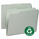 Smead 13500 Gray/Green 100% Recycled Pressboard File Folder, 1/3-Cut Tab, 1