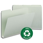Smead 13501 Gray/Green 100% Recycled Pressboard File Folder, 1/3-Cut Tab, 2