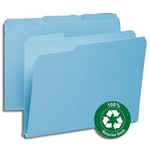 Smead 13502 Blue 100% Recycled Pressboard File Folder, 1/3-Cut Tab, 1
