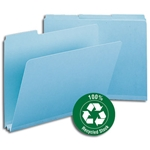 Smead 13503 Blue 100% Recycled Pressboard File Folder, 1/3-Cut Tab, 2