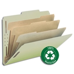 Smead 14093 Gray/Green 100% Recycled Pressboard Classification Folder, 3 Dividers, 3
