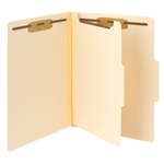 Smead 14560 Manila Fastener Heavy-Duty File Folder with Divider, 2 Fasteners, Reinforced 1/3-Cut Tab, Letter