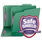 Smead 14938 Green Pressboard Fastener Folder with SafeSHIELD Fasteners, 2 Fasteners, 1/3-Cut Tab, 2