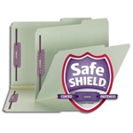 Smead 14980 Gray/Green Pressboard Fastener File Folder, 2 Fasteners, 2/5-Cut Tab Right of Center Position, Guide Height, 1