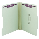 Smead 14982 Gray/Green Pressboard Fastener File Folder, 2 Fasteners, 2/5-Cut Tab Right of Center Position, Guide Height, 2