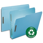 Smead 15001 Blue 100% Recycled Pressboard Fastener File Folder, 1/3-Cut Tab, 2