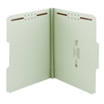 Smead 15003 Gray/Green 100% Recycled Pressboard Fastener File Folder, 1/3-Cut Tab, 1