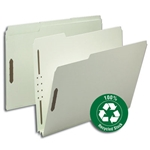 Smead 15004 Gray/Green 100% Recycled Pressboard Fastener File Folder, 1/3-Cut Tab, 2
