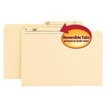 Smead 15145 Manila Reversible File Folder, 1/2-Cut Printed Tab, Legal