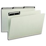 Smead 18430 Gray/Green Pressboard File Folder, 1/3-Cut Tab Flat Metal, 1