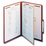 Smead 18744 Red 100% Recycled Pressboard Classification Folder, 1 Divider, 2