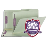 Smead 19920 Gray/Green Pressboard Fastener File Folder, 2 Fasteners, 2/5-Cut Tab Right Position, 2