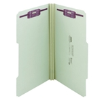Smead 19982 Gray/Green Pressboard Fastener File Folder, 2 Fasteners, 2/5-Cut Tab Right of Center Position, 2