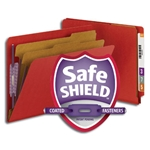 Smead 26783 Bright Red End Tab Pressboard Classification Folder with SafeSHIELD Fasteners, 2 Dividers, 2