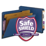 Smead 26784 Dark Blue End Tab Pressboard Classification Folder with SafeSHIELD Fasteners, 2 Dividers, 2