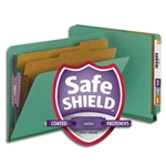 Smead 26785 Green End Tab Pressboard Classification Folder with SafeSHIELD Fasteners, 2 Dividers, 2