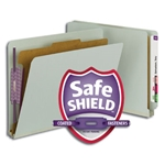 Smead 26800 Gray/Green End Tab Pressboard Classification Folder with SafeSHIELD Fasteners, 1 Divider, 2