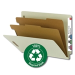 Smead 26802 Gray/Green 100% Recycled End Tab Classification Folder, 2 Dividers, 2