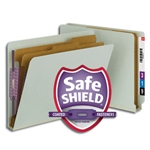 Smead 26810 Gray/Green End Tab Pressboard Classification Folder with SafeSHIELD Fasteners, 2 Dividers, 2
