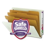 Smead 26820 Gray/Green End Tab Pressboard Classification Folder with SafeSHIELD Fasteners, 3 Dividers, 3