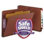 Smead 26855 Red End Tab Pressboard Classification Folder with SafeSHIELD Fasteners, 1 Divider, 2