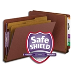 Smead 26860 Red End Tab Pressboard Classification Folder with SafeSHIELD Fasteners, 2 Dividers, 2