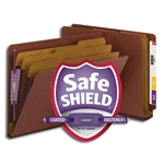 Smead 26865 Red End Tab Pressboard Classification Folder with SafeSHIELD Fasteners, 3 Dividers, 3