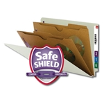 Smead 29710 Gray/Green End Tab Classification File Folder with SafeSHIELD Fasteners, 2 Pocket-Style Dividers, Legal