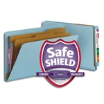 Smead 29781 Blue End Tab Pressboard Classification Folder with SafeSHIELD Fasteners, 2 Dividers, 2