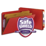 Smead 29783 Bright Red End Tab Pressboard Classification Folder with SafeSHIELD Fasteners, 2 Dividers, 2