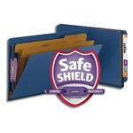 Smead 29784 Dark Blue End Tab Pressboard Classification Folder with SafeSHIELD Fasteners, 2 Dividers, 2